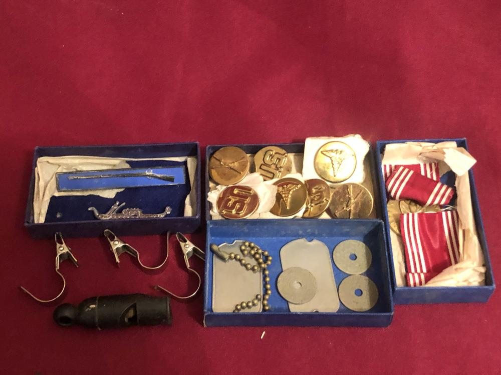 Assortment U.S. army & other medals, buttons, etc.