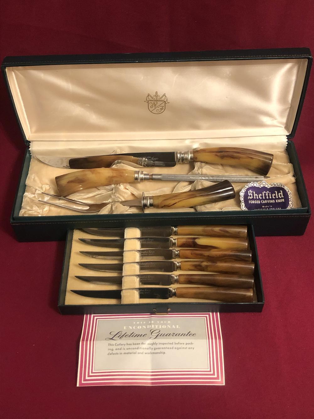 Vintage Washington Forge Sheffield carving & knife set