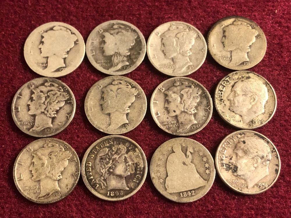 Twelve silver dimes
