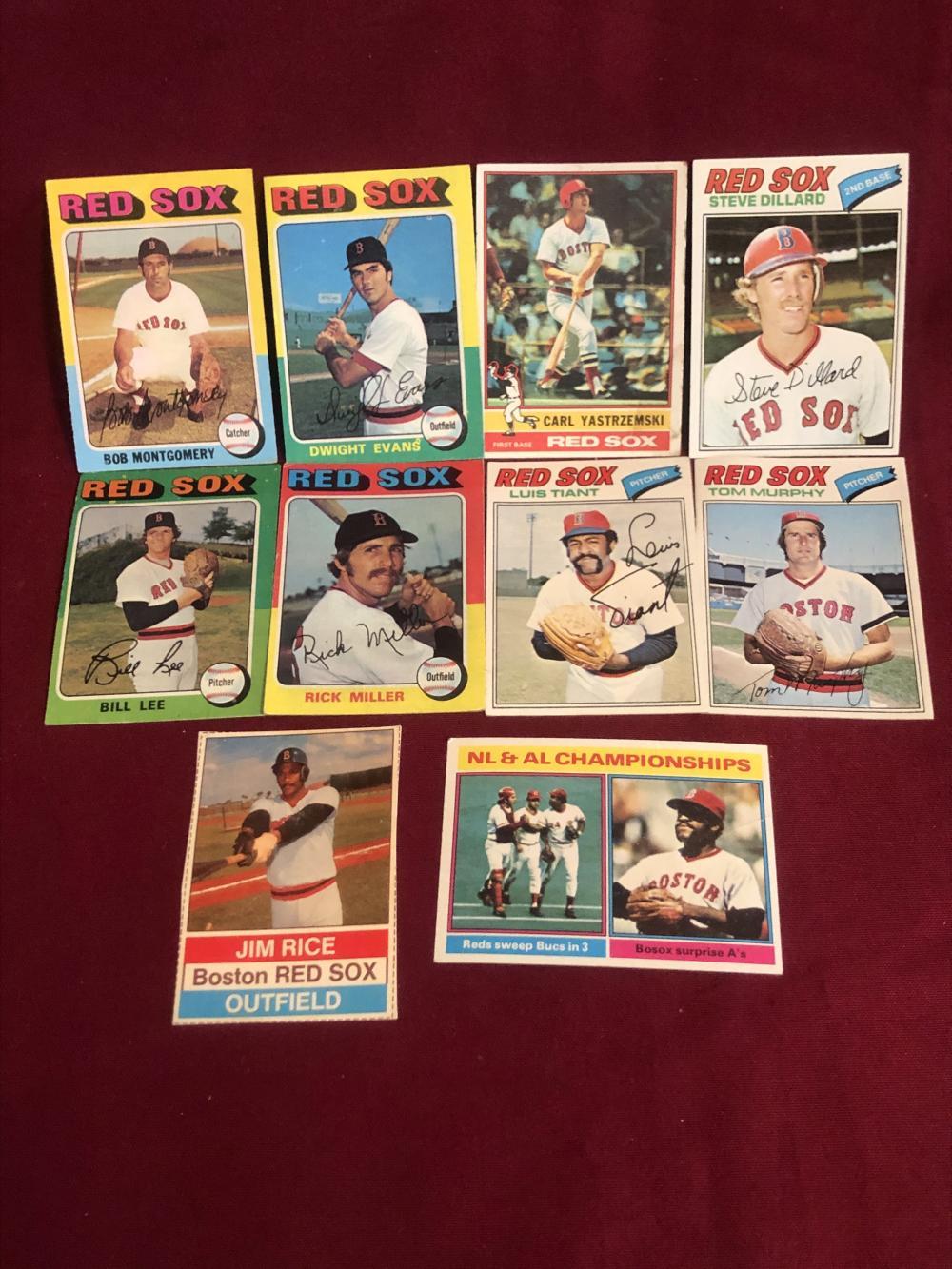 Ten vintage Red Sox baseball cards