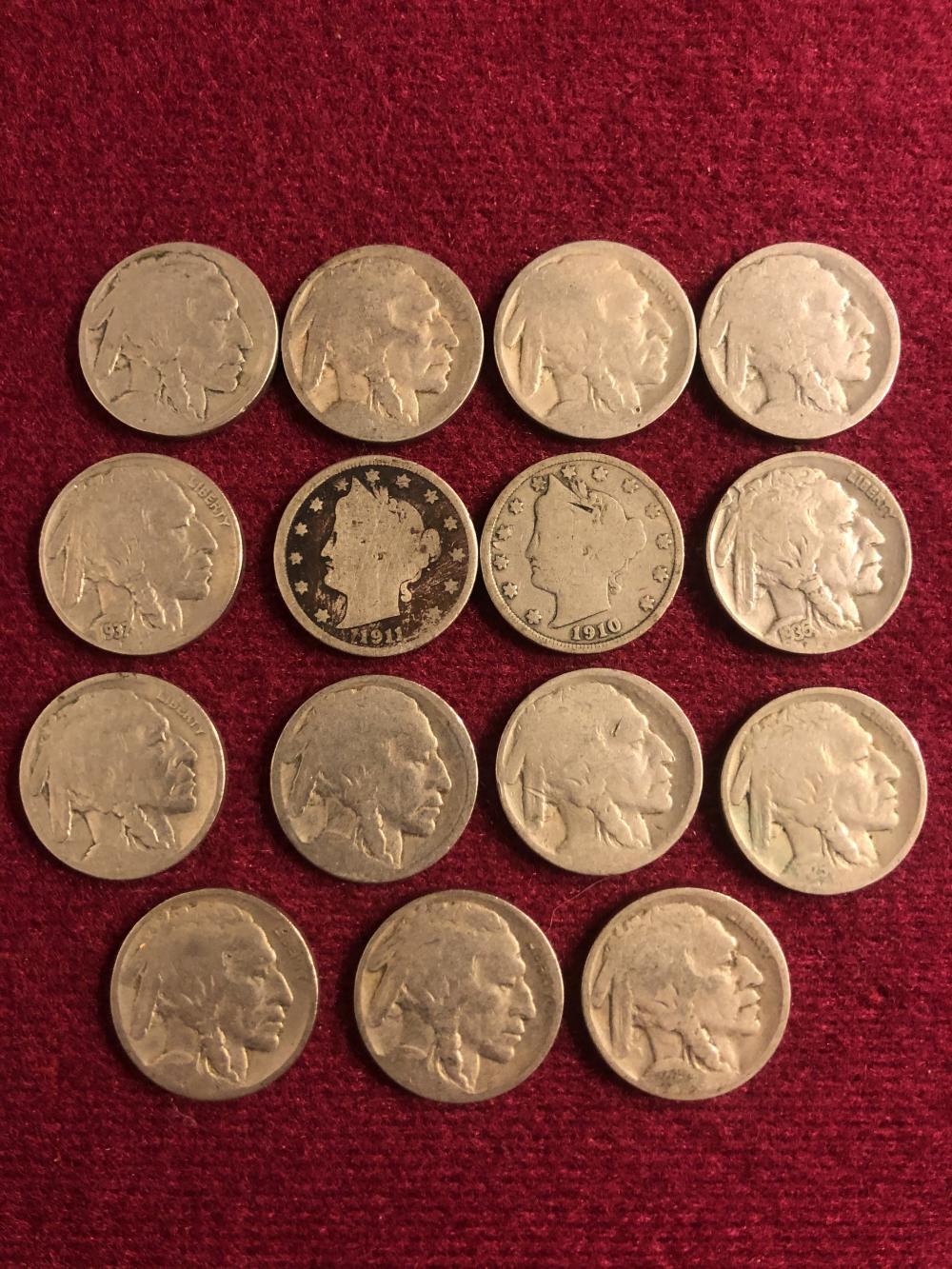 Buffalo nickels & V nickels various years
