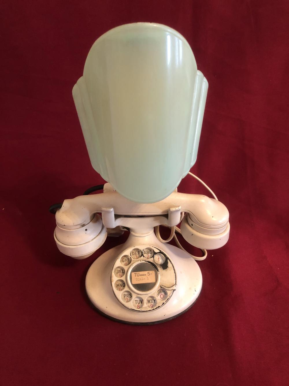 Antique telephone with light