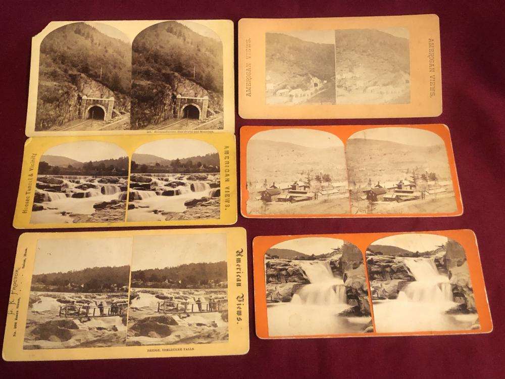 Six antique stereoview cards - Hoosac Tunnel, etc.