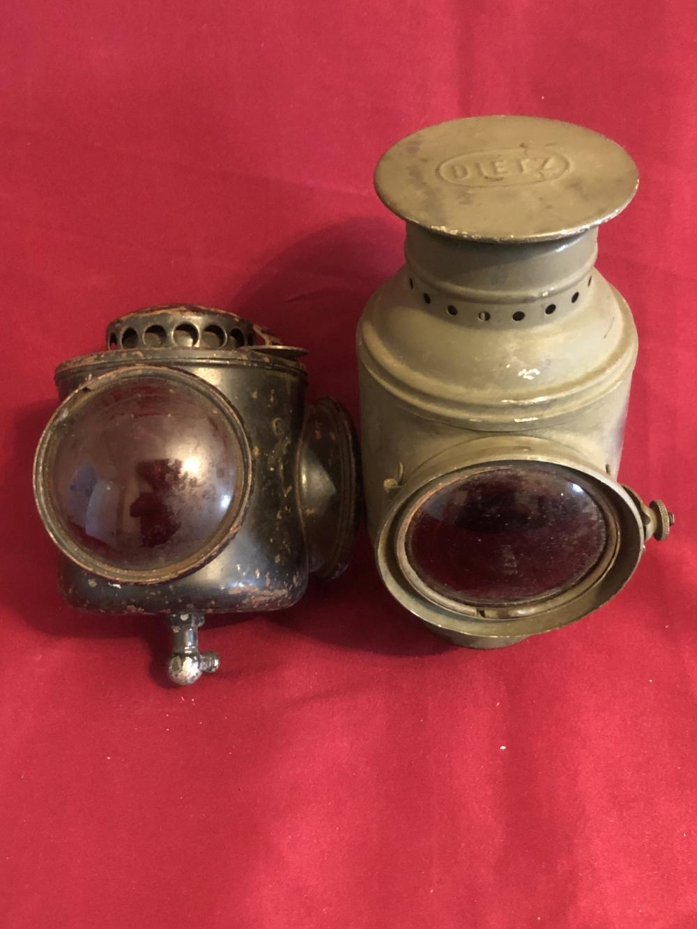 Two old carriage-coach lanterns