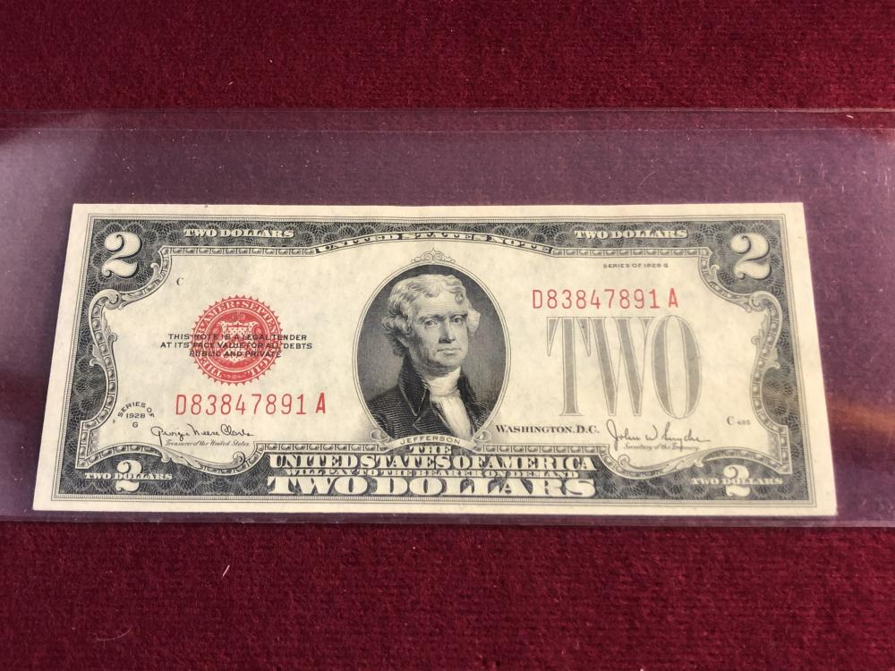 1928 two dollar red note