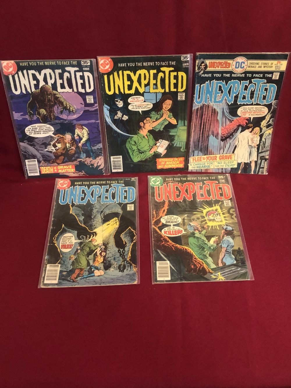 Five vintage DC unexpected comic books