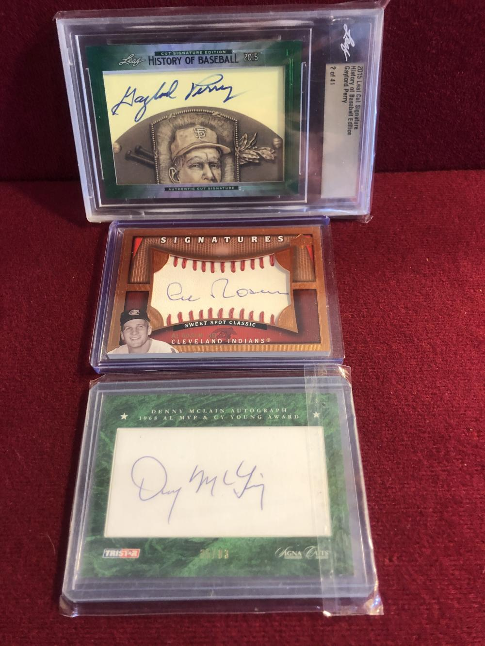 Autographed baseball cards - Rosen, Perry, McLain