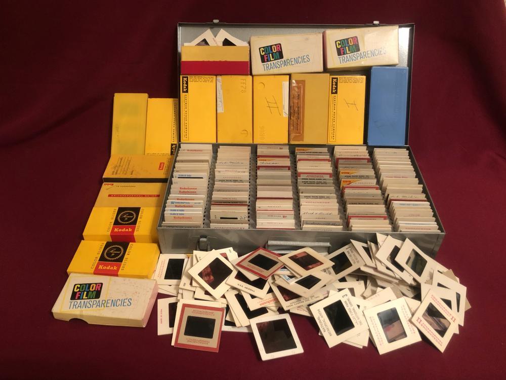 Large lot of vintage photo slides