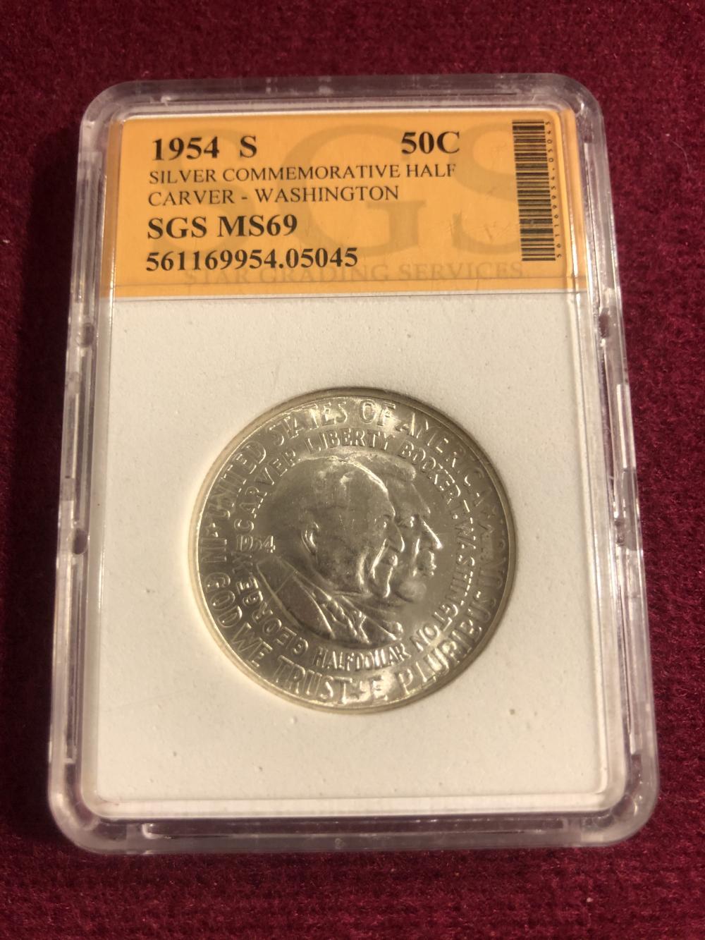 Graded 1954-S silver commemorative half dollar