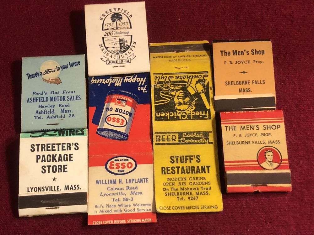 Vintage matchbooks from Franklin County Massachusetts