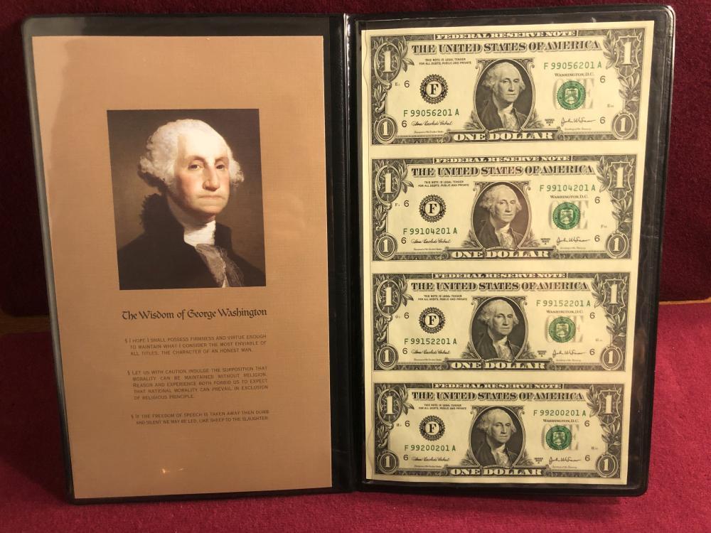 World reserve exchange four uncut one dollar bills