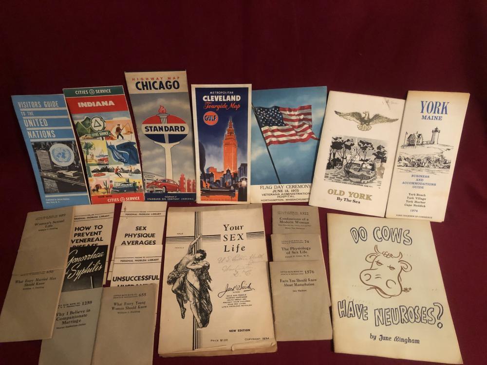 Medical booklets, ephemera, old road maps, etc.