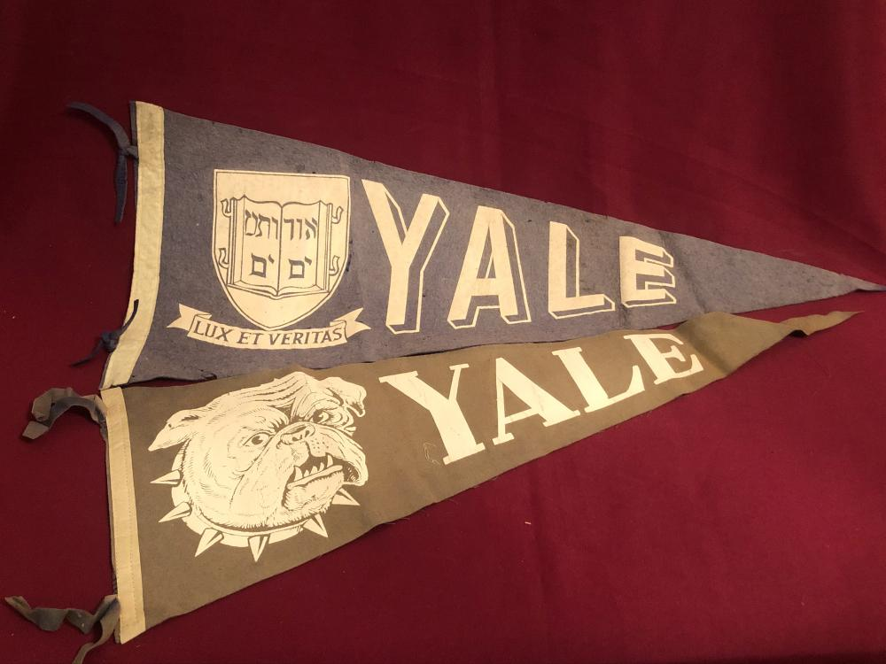 Two vintage Yale University college pennants