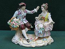 SITZENDORF HANDPAINTED AND GILDED CERAMIC FIGURE GROUP, APPROXIMATELY 13cm HIGH