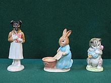 THREE BESWICK BEATRIX POTTER CERAMIC FIGURES- PICKLES BP-2, CECILY PARSLEY BP-2 AND MISS MOPPET BP-1A (AT FAULT)