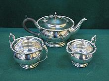 SILVER PLATED THREE PIECE TEA SET