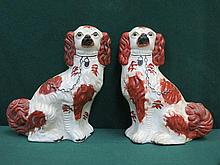 PAIR OF HANDPAINTED STAFFORDSHIRE CERAMIC SPANIELS, APPROXIMATELY 33cm HIGH
