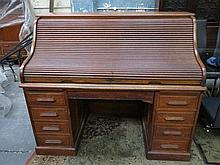 LARGE OAK ROLL TOP WRITING DESK