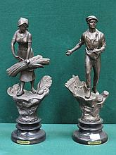 PAIR OF FRENCH STYLE SPELTER FIGURES ON EBONISED BASES, 'L'AGRICULTURE', APPROXIMATELY 49cm HIGH