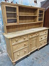 STRIPPED PINE VICTORIAN STYLE KITCHEN DRESSER (WOODWORM)