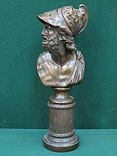 DECORATIVE BRONZE STYLE BUST ON COLUMN FORM SUPPORT, APPROXIMATELY 47cm HIGH