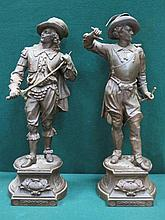 PAIR OF SPELTER FIGURES DEPICTING CAVALIERS DON JUAN AND DON CESAR, APPROXIMATELY 53cm HIGH
