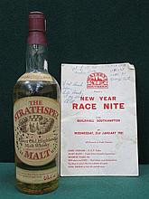 UNOPENED BOTTLE OF 'THE STRATHSPEY' SCOTCH WHISKEY, SIGNED IN PEN BY GEORGE BEST,ACCOMPANIED BY THE PROGRAMME FOR THE NIGHT WHEN THE SIGNATURE WAS OBTAINED