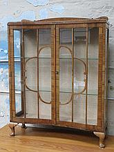 ART DECO STYLE WALNUT VENEERED TWO DOOR GLAZED DISPLAY CABINET