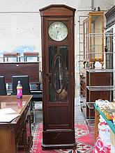 LARGE MAHOGANY FREESTANDING CLOCK WITH SILVER COLOURED DIAL