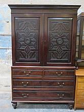 CARVED ANTIQUE MAHOGANY LINEN PRESS