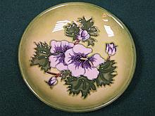 MOORCROFT TUBE LINED FLORAL DECORATED CERAMIC COASTER, DIAMETER APPROXIMATELY 12cm
