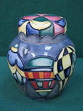 MOORCROFT 'BALLOONS' CERAMIC GINGER JAR WITH COVER (SECOND), APPROXIMATELY 12cm HIGH