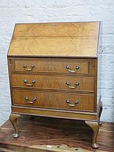 WALNUT VENEERED FALL FRONT BUREAU WITH FITTED INTERIOR