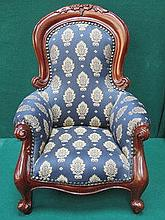 REPRODUCTION UPHOLSTERED MINIATURE VICTORIAN STYLE