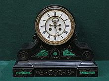 DECORATIVE BLACK SLATE MANTEL CLOCK WITH ENAMELLED