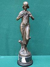 BRONZE VICTORIAN STYLE FIGURINE ON MARBLE SUPPORT,