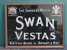SWAN VESTAS ADVERTISING SIGN, APPROXIMATELY 44.5cm
