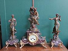 ART NOUVEAU FRENCH STYLE SPELTER FIGURE FORM CLOCK