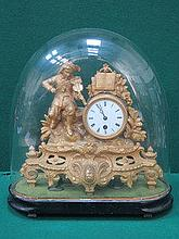 FRENCH STYLE GILT METAL MANTEL CLOCK WITH ENAMELLE