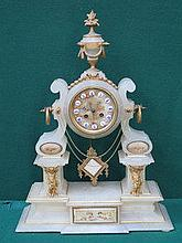 VICTORIAN STYLE ALABASTER MANTEL CLOCK WITH GILT M