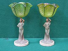 PAIR OF ART NOUVEAU STYLE CAST METAL FIGURES WITH