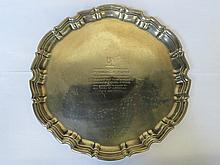 LARGE HALLMARKED SILVER WAVE EDGED TRAY, SHEFFIELD