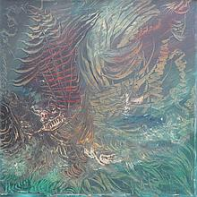 BRIAN BURGESS, OIL ON BOARD OF AN ABSTRACT GALLION