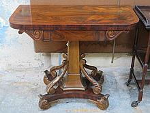 ANTIQUE WALNUT FOLD OVER GAMES TABLE