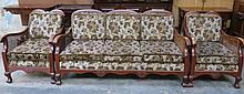 MAHOGANY FRAMED BERGERE THREE SEATER SETTEE WITH T