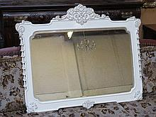 DECORATIVE PAINTED AND GILDED WALL MIRROR, APPROXI