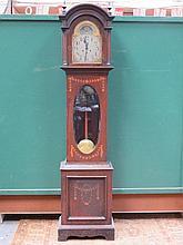 OAK/MAHOGANY CASED INLAID GRANDMOTHER CLOCK WITH B