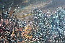 BRIAN BURGESS, OIL ON BOARD OF AN ABSTRACT CITY SC