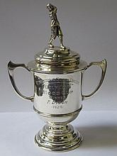 HALLMARKED SILVER TWO HANDLED TROPHY WITH COVER FE