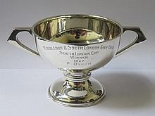HALLMARKED SILVER TWO HANDLED TROPHY, LONDON ASSAY